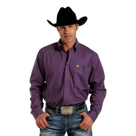 Cinch Western Shirt Mens Long Sleeve Floral Weave Purple