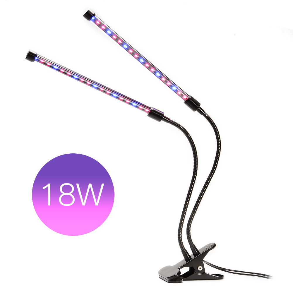 Plant Lights,18W Dual Head LED Grow Lights,Adjustable 2 Level Dimmable Desk Clip with 360 Degree Flexible Gooseneck-LED Plant Growing Lamp and Double on/off Switch Indoor Plant Growing Lights