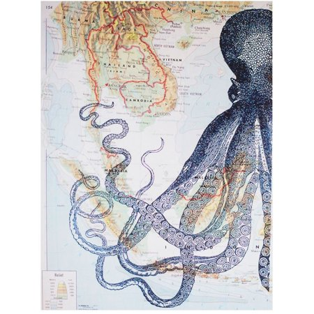 Art N Wordz Half Kraken Octopus Original Atlas Sheet Pop Art Wall or Desk Art Print Poster