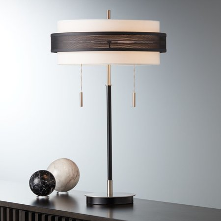 Remarkable Possini Euro Design Modern Table Lamp Chrome And Black Metal Slim White Fabric Double Drum Shade For Living Room Family Bedroom Download Free Architecture Designs Grimeyleaguecom