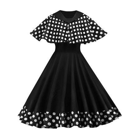 85dca11c67 HIMONE - 50s 60s Women Vintage Rockabilly Pinup Polka Dots Flare Swing Evening  Formal Party Dress with Cloak Retro Prom Dresses - Walmart.com
