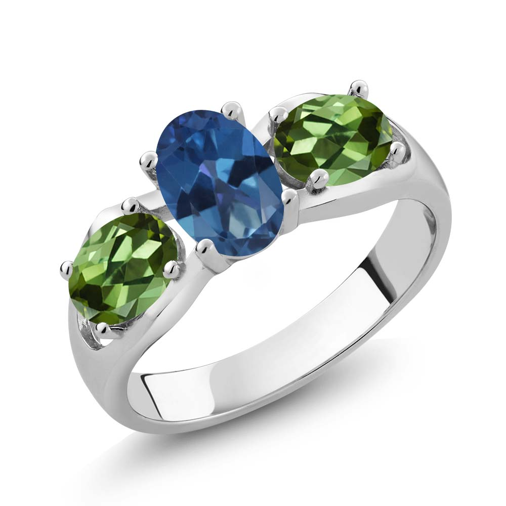 1.80 Ct Oval Royal Blue Mystic Topaz Green Tourmaline 18K White Gold Ring by