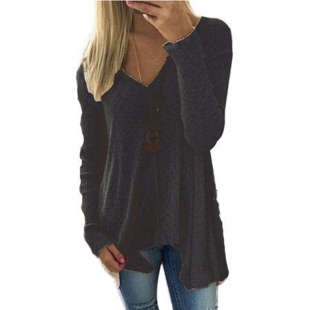 - Plus Size Women's Asymmetrical Hem Sweater Long Sleeve Pullover Solid Color Tunic Tops Casual Basic T-shirt Deep V-neck S-XXXXXL