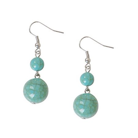 Humble Chic Women's Simulated Turquoise Dangles Acrylic - Jewel Bead Drop Earrings, Simulated Turquo