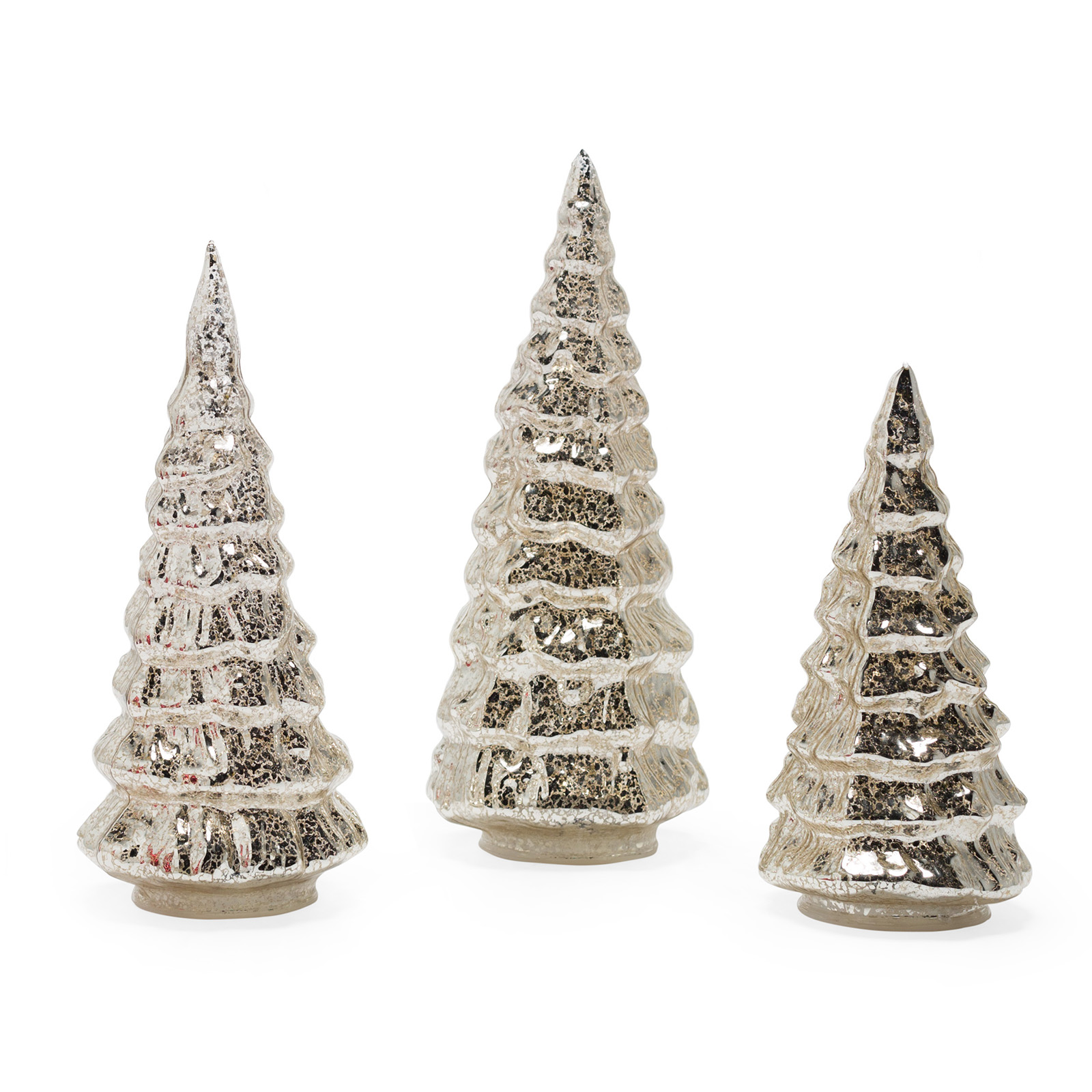 Belham Living Mercury Glass Christmas Trees set of 3, Silver