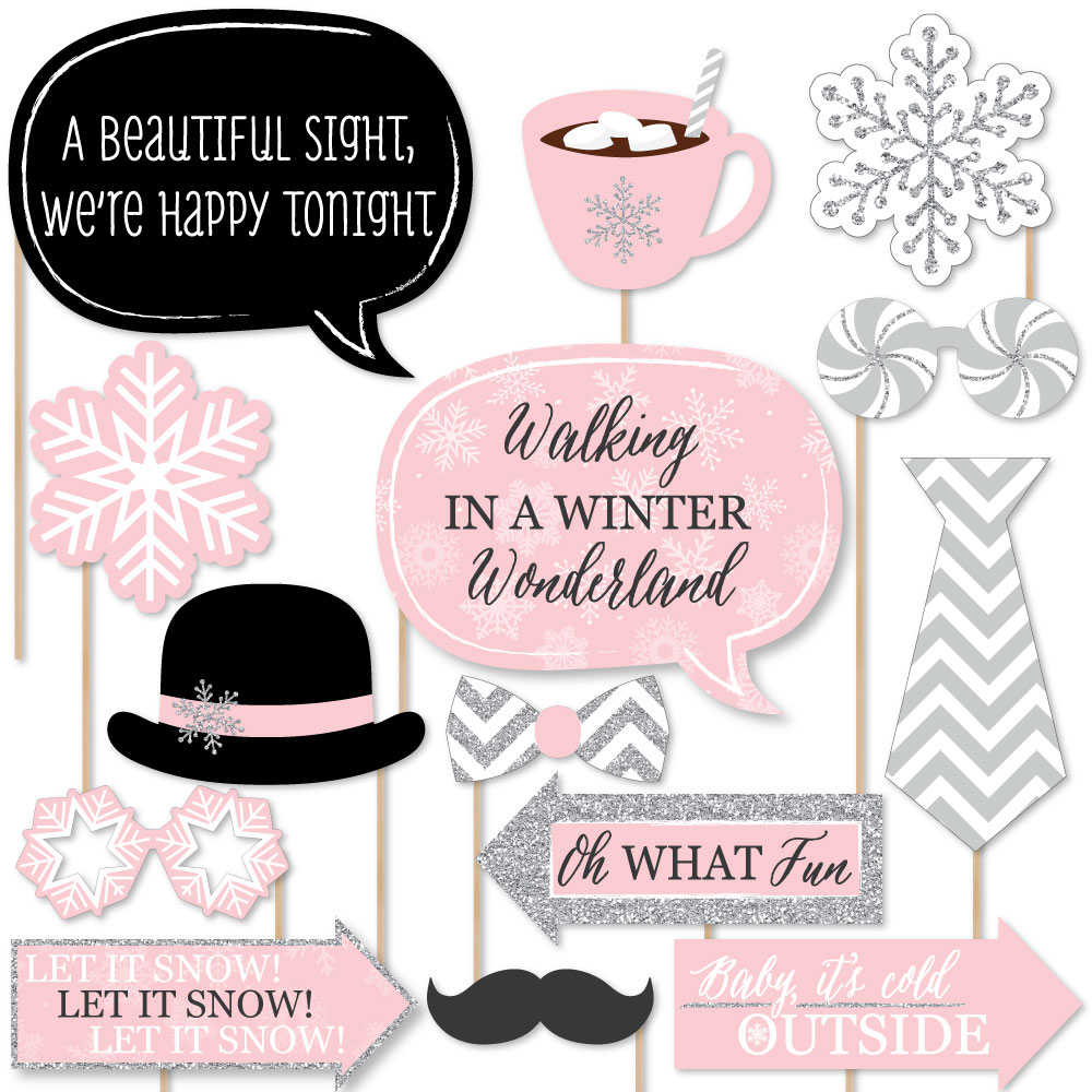 Pink Winter Wonderland - Holiday Snowflake Birthday Party or Baby Shower Photo Booth Props Kit - 20 Count