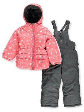 Pink Platinum Baby Toddler Girl Metallic Star Print Puffer Jacket Coat & Snowbib, 2pc Set
