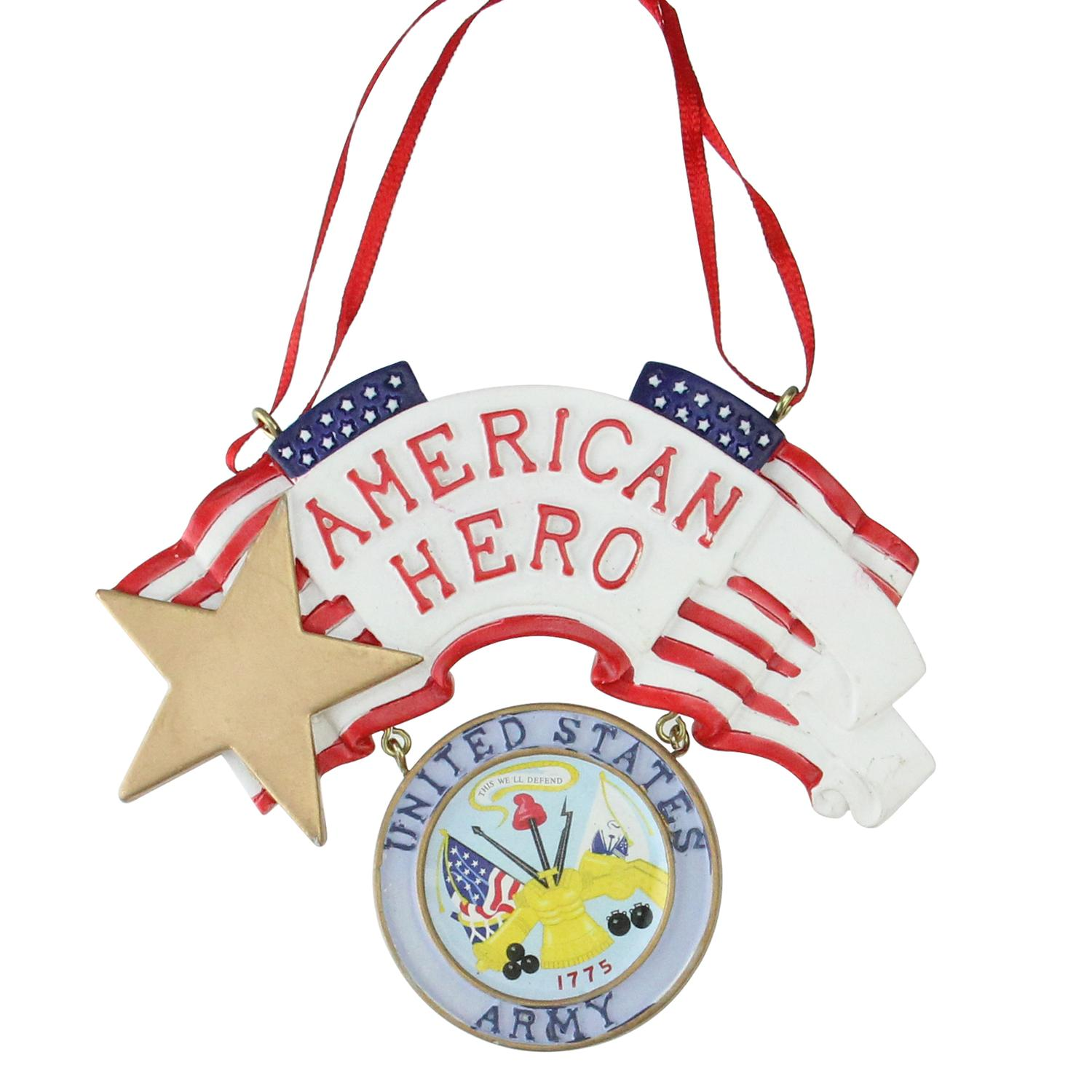 "Kurt Adler 4.25"" ""American Hero"" US Army Christmas Ornament - White/Red"