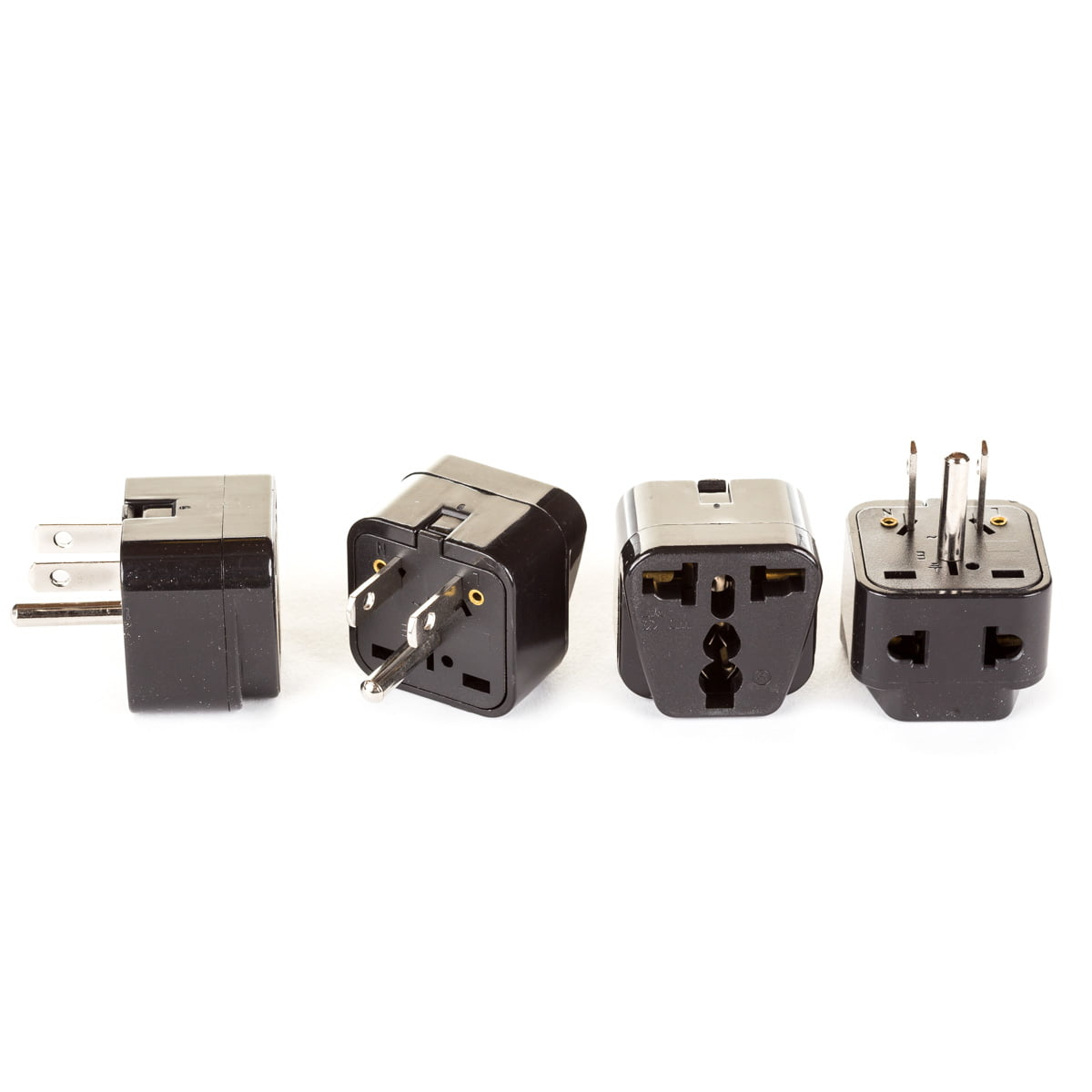 OREI 2 in 1 Universal to Grounded USA Adapter Plug (Type B)- 4 Pack, Black by Orei