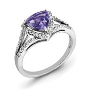 Primal Silver Sterling Silver Rhodium Amethyst and Diamond Ring