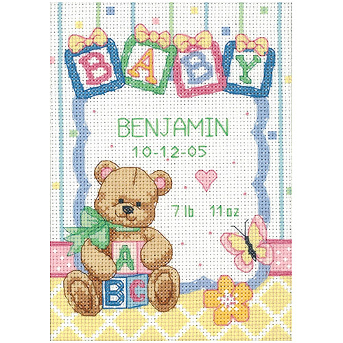 "Dimensions Baby Hugs ""Baby Blocks"" Birth Record Counted Cross Stitch Kit, 14ct, 5"" x 7"""