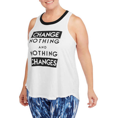F.I.T. Women's Plus Fitspiration Change Nothing Shredded Muscle Workout Tank