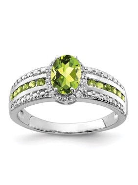 14K White Gold Over Green Oval Peridot And White Topaz Engagement Ring Size 6 for Womens (1.45ct)