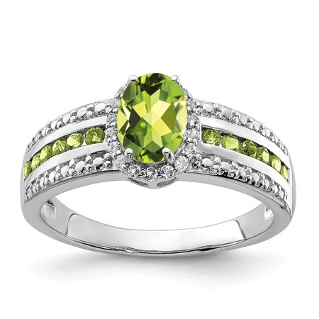 14K White Gold Over Green Oval Peridot And White Topaz Engagement Ring Size 6 For Women (1.45ct) - Glow In The Dark Engagement Ring