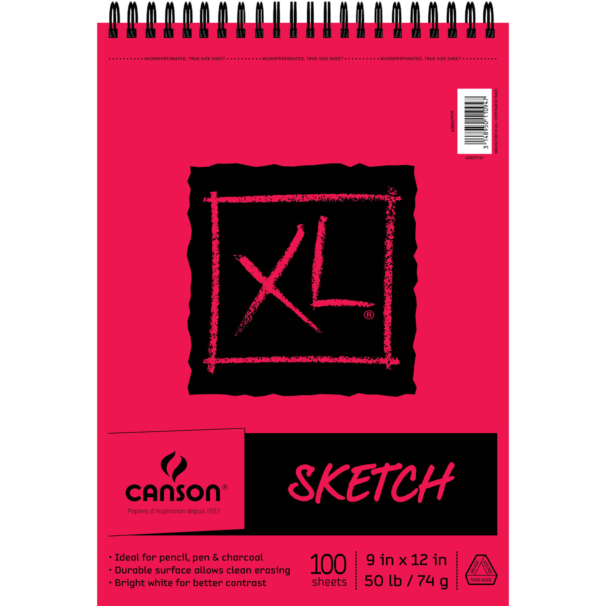 "Canson XL Sketch Pad Top Wire, 9"" x 12"""