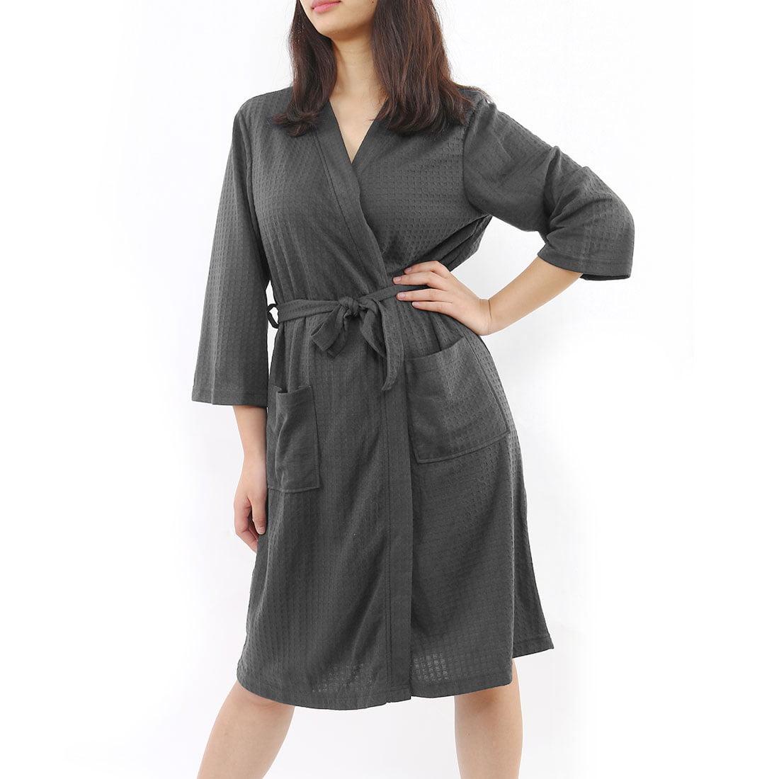 3ea6877755 Women s Turkish Cotton Lightweight Waffle Kimono Short Robe L XL ...