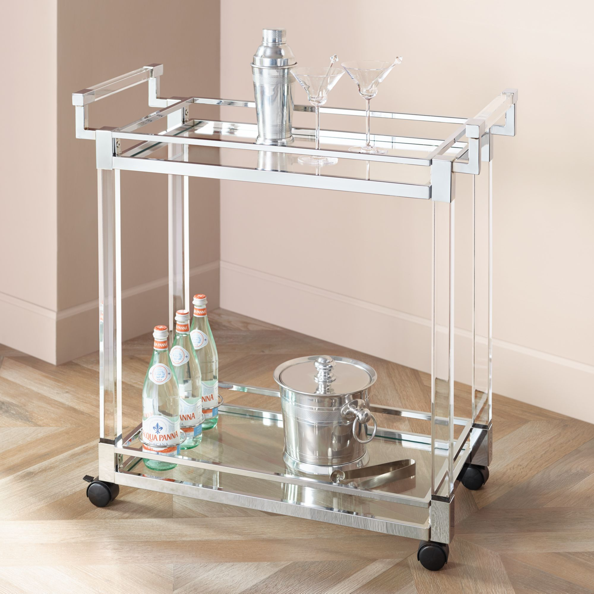 "Studio 55D Clear Acrylic & Chrome 32 3/4"" Wide Rolling Serving Bar Cart"