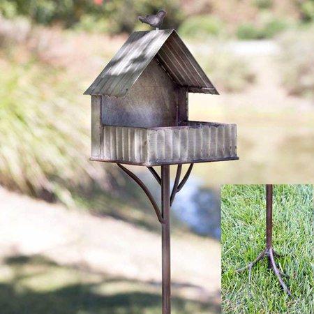 (Open Style Country Home Bird Feeder Garden Stake)
