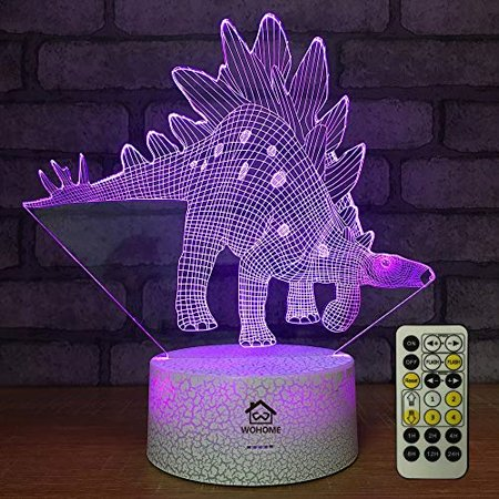3D Night Lights, WOHOME 7 Colors Changing with Smart Touch & Remote Control Jurassic Dinosaur Projection LED Lamp Baby Nursery Nightlight for Kids for Boys Girls Age 2 3 4 5 6+ Year Old Boys Gifts