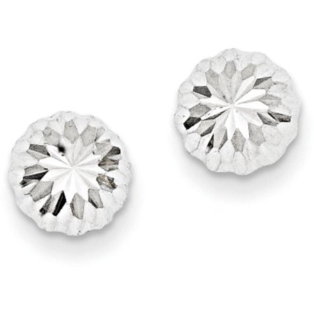 14kt White Gold Polished and Diamond-Cut Half Ball Post Earrings
