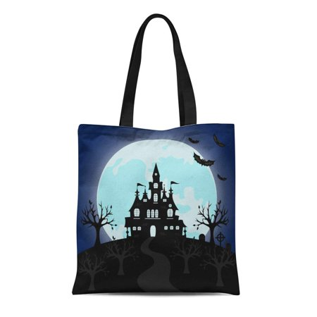 ASHLEIGH Canvas Tote Bag Old Gothic Cemetery Iron Gate and Lantern Halloween Night Durable Reusable Shopping Shoulder Grocery - Cemetery Gates Halloween