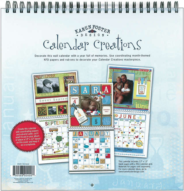 Karen Foster Design Scrapbook Blank Wall Calendar Multi-Colored