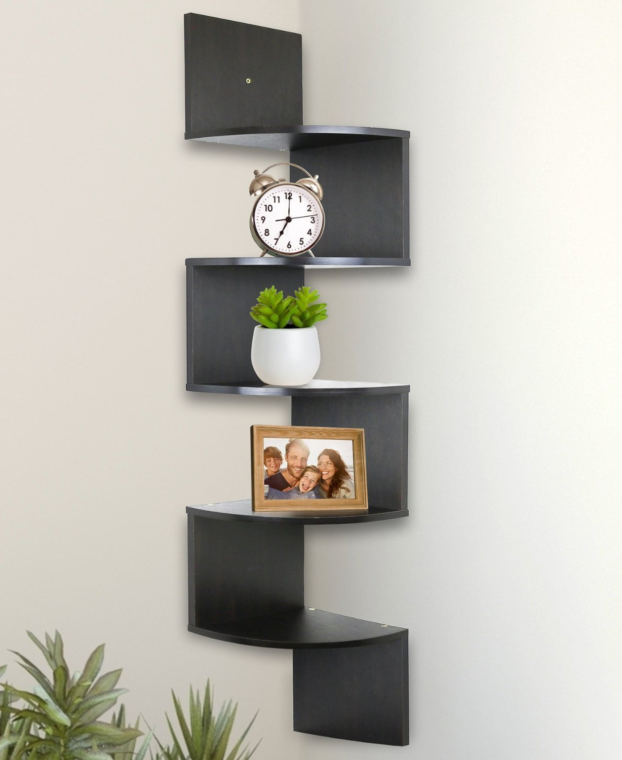 greenco  tier wall mount corner shelves espresso finish  walmartcom -