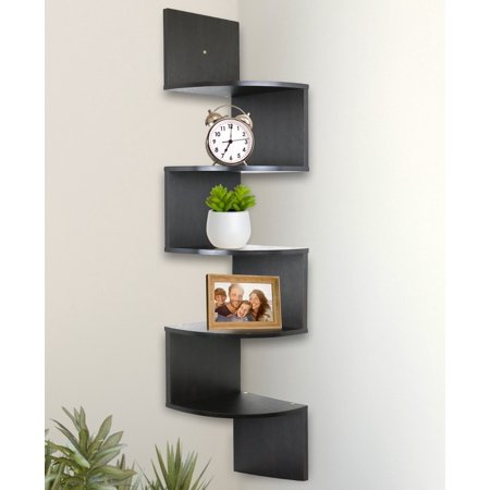 Greenco 5 tier wall mount corner shelves espresso finish Corner wall mounted shelves