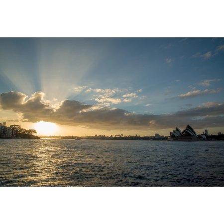 Canvas Print Sunrise Shining Water Sun Sydney Harbour Shiny Stretched Canvas 10 x (Sunrise Glossy)