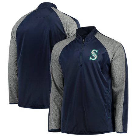Seattle Mariners G-III Sports by Carl Banks Fast Track Raglan Half-Zip Pullover Jacket - Navy/Heathered Gray