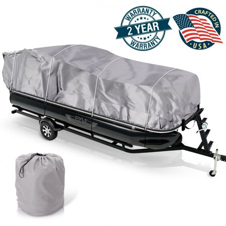 Pontoon Boat Tarp (PYLE PCVHP441 - Armor Shield Trailer Guard Pontoon Boat Cover 21'-24'L Beam Width to 96'' )
