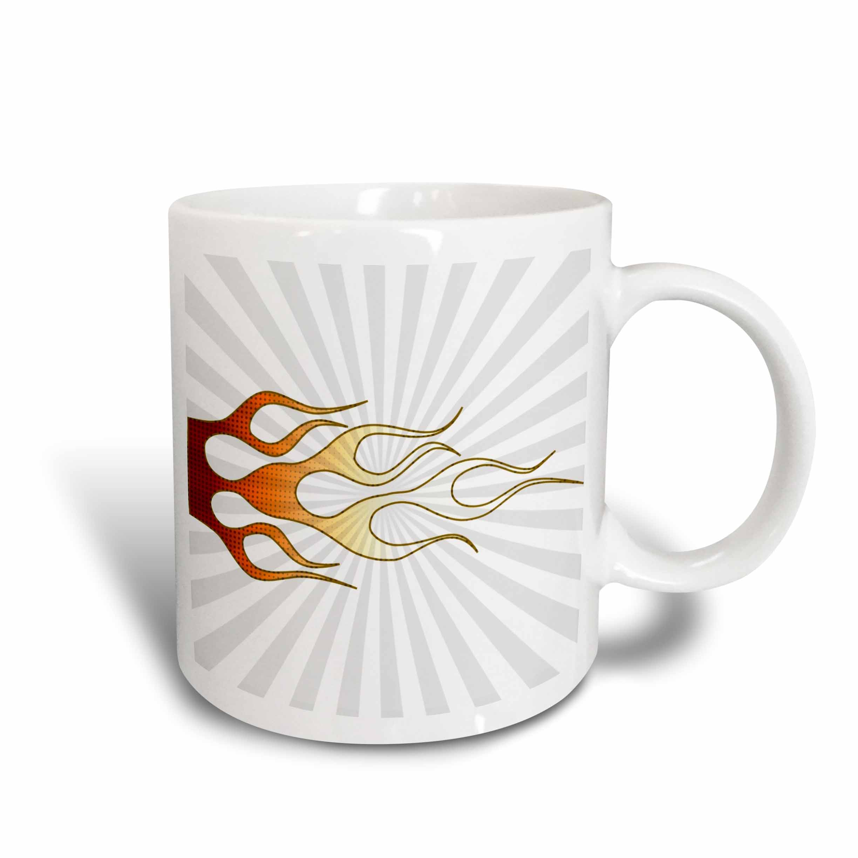 3dRose Red and Orange Flame - Art, Ceramic Mug, 15-ounce