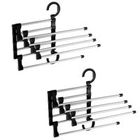2 Pack, 5-in-1 Space Saver Pants Trousers Hanger Household Wardrobe Closet Foldable Clothing Rack