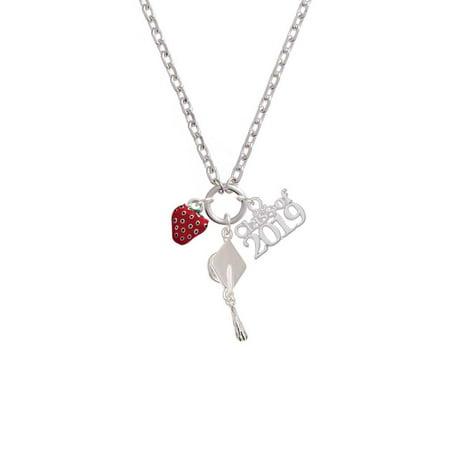 Silvertone Mini Red Enamel Strawberry - Class of 2019 Graduation Zoe (32 Mini Pendant)