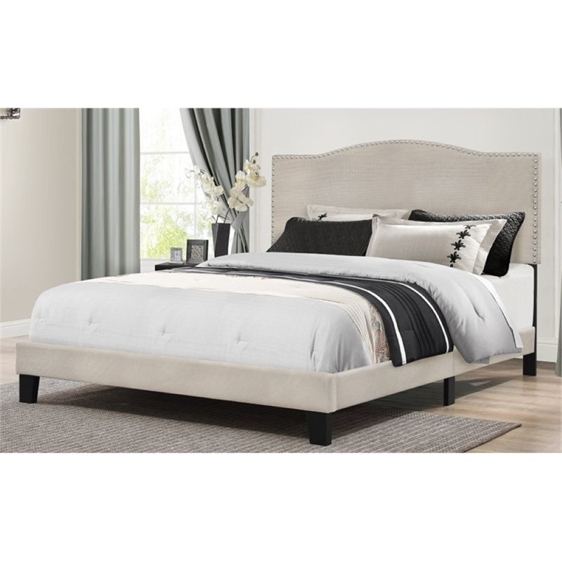 Bowery Hill Upholstered Queen Panel Bed in Fog