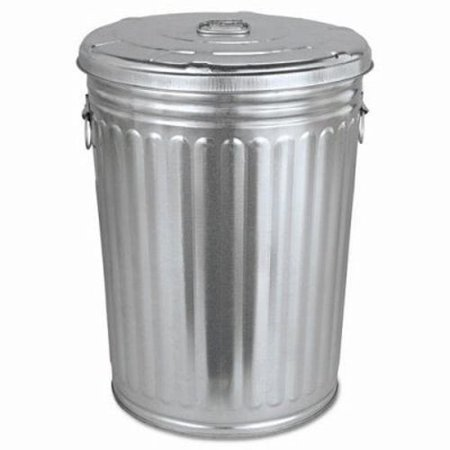 Pre-Galvanized Trash Can With Lid, Round, Steel, 20gal, Gray (Toy Garbage Cans)