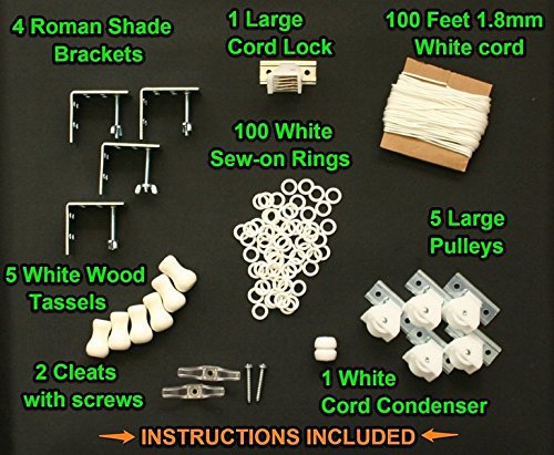 All-in-One LARGE ROMAN SHADE HARDWARE KIT, in White (cord...
