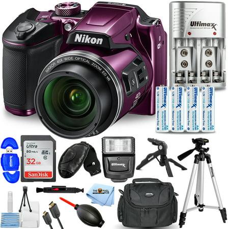 Nikon COOLPIX B500 Digital Camera (Purple) 26507-IV Pro Bundle with 32GB SD, Flash, Tripods, Gadget Bag, HDMI Cable + More Nikon Coolpix S500 Memory