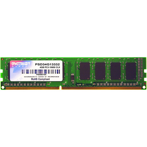 Patriot Memory Signature 4GB DDR3 1333MHz PC3-10600 DIMM Memory Module, PSD34G13332