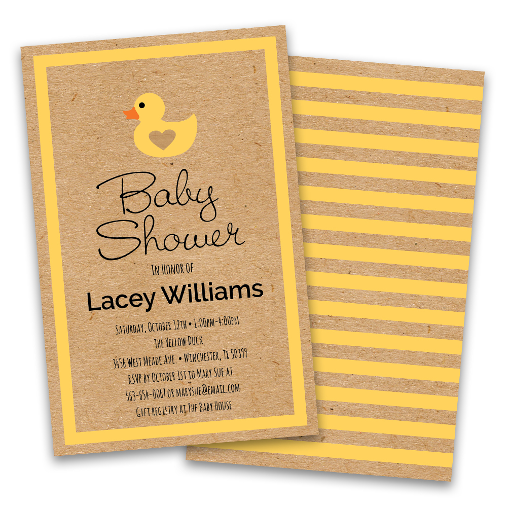 Personalized Rubber Duckie Personalized Baby Shower Invitations