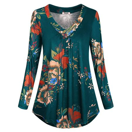 JustVH Women's Notch V-Neck Roll-up Long Sleeve Blouse Casual Flowy Tunic Tops
