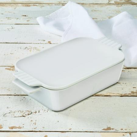 Pillivuyt Porcelain Dish (White Porcelain 1.58 qt Casserole Baking Dish w/Lid, Walmart Exclusive )