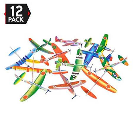 Kids Birthday Party Giveaways (12 Pack 8 Inch Glider Planes - Birthday Party Favor Plane, Great Prize, Handout / Giveaway Glider, Flying Models, One)