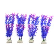 4pcs Purple Plastic Aquarium Leaves Plants Fish Tank Underwater Plant Decoration