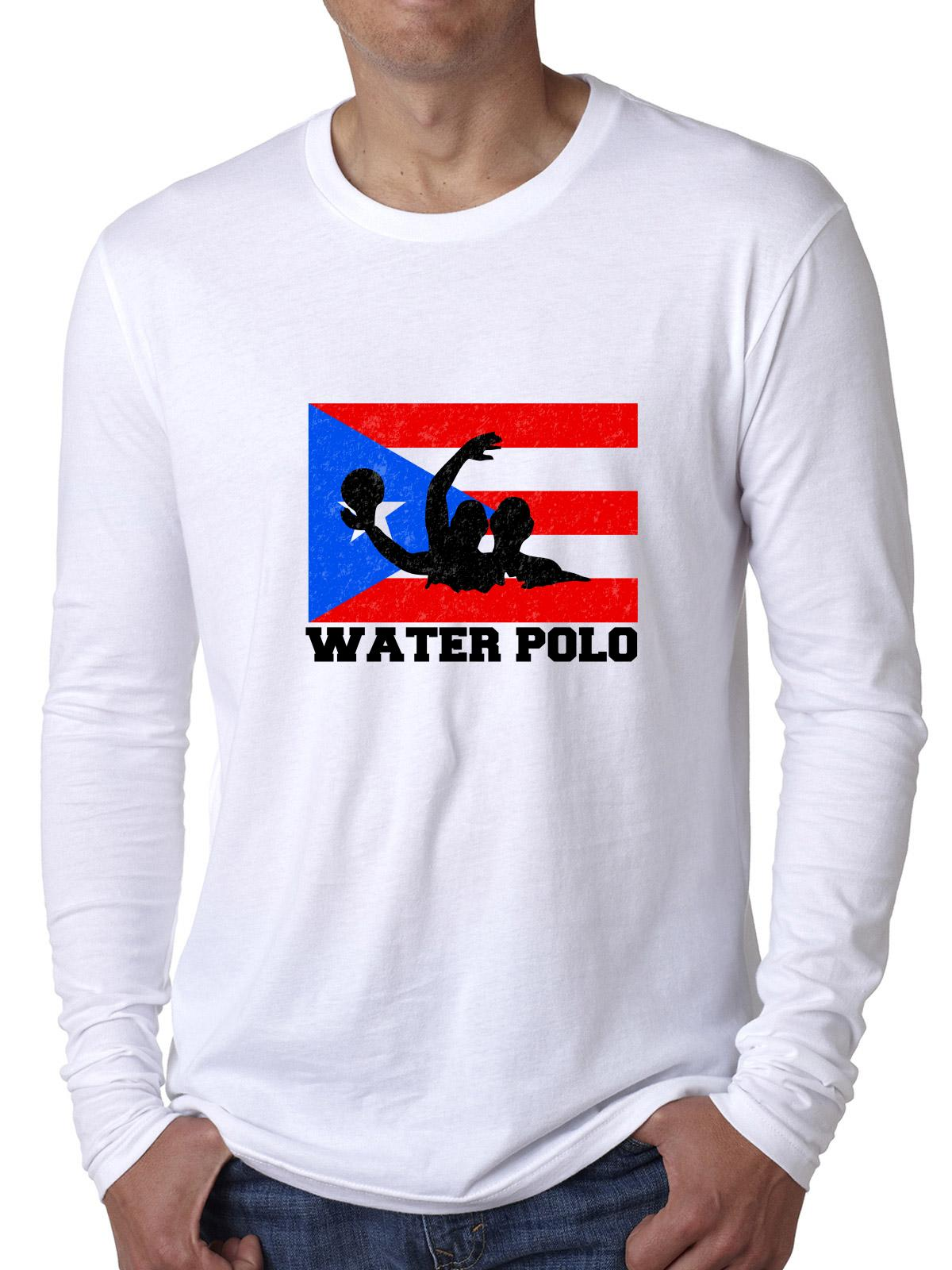 Puerto Rico Olympic Water Polo Flag Men's Long Sleeve T-Shirt by Hollywood Thread
