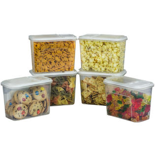 6 Pack Food Storage Dispenser Plastic Container 7.5 Cup BPA Free Canister with Flip Top Lid Pasta Snack