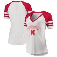 Nebraska Cornhuskers Women's Raglan Essential Arena V-Neck T-Shirt - White/Scarlet