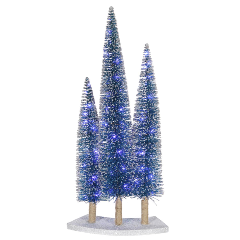 Christmas Tree Trio: Pre-Lit LED Blue Glitter Artificial Mini Village Christmas