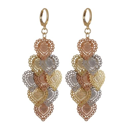 Luxiro  Tri-color Gold Finish Lacy Hearts Chandelier Dangle Earrings