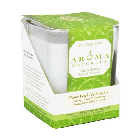 Aroma Naturals Soy Vege Pure Square Glass Candle, Peace Pearl - 1 Ea